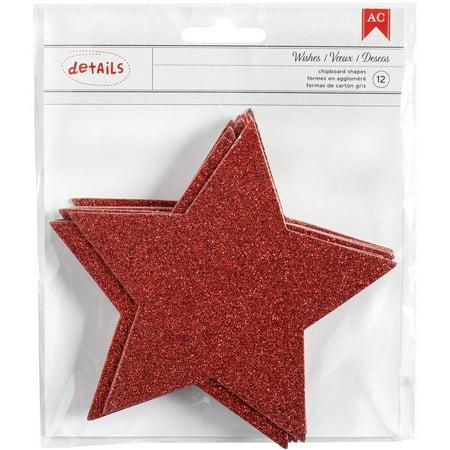 American Crafts Red Glitter Chipboard Stars Deck The Halls American Crafts