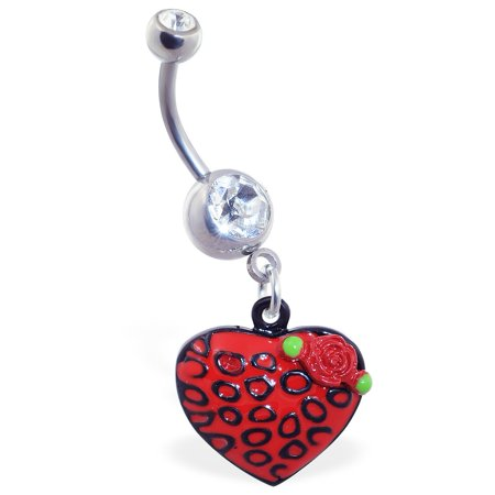 Leopard Roses - Jeweled Belly Ring With Dangling Leopard Print Heart With Rose
