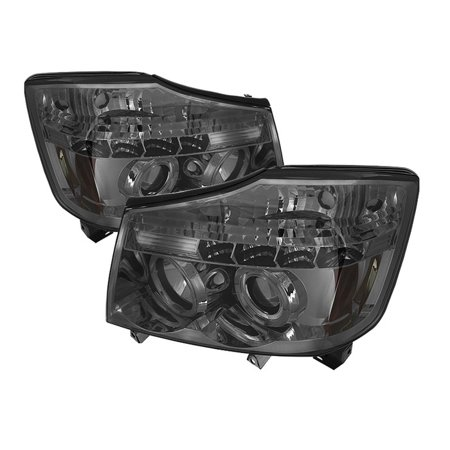 Spyder Nissan Titan 04-15 / Nissan Armada 04-07 Projector Headlights - LED Halo - LED ( Replaceable LEDs ) - Smoke - High H1 (Included) - Low 9006 (N 2012 Nissan Titan Led