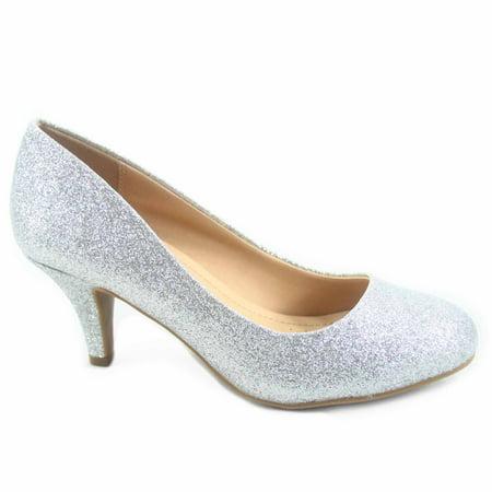 a45463b855cd Cityclassified - Carlos-s Women s Patent Glitter Round Toe Low Heel Pump  Dress Shoes - Walmart.com