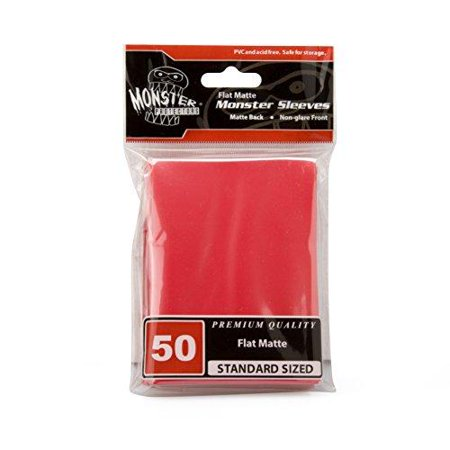 Sleeves - Monster Protector Sleeves - Standard MTG Size Flat Matte - RED (Fits Magic and Standard Sized Gaming