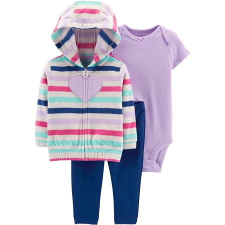 Child of Mine by Carter's Hooded Cardigan, Short Sleeve Bodysuit & Leggings, 3-Piece Outfit Set (Baby Girls)