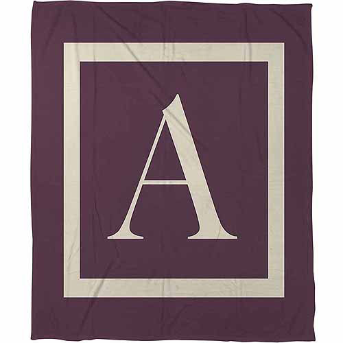Thumbprintz Classic Block Monogram Fleece Throw, Eggplant