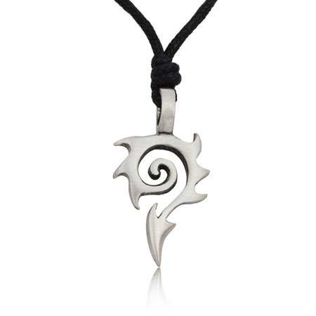 New Tribal Maori Silver Pewter Charm Necklace Pendant Jewelry With Cotton Cord - Maori Bone Pendants