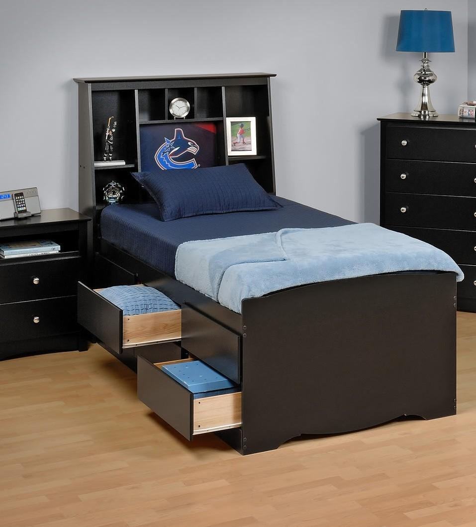 Tall Captain's Platform Storage Bed w/ Bookcase Headboard-Bed Size:Twin,Color:Black