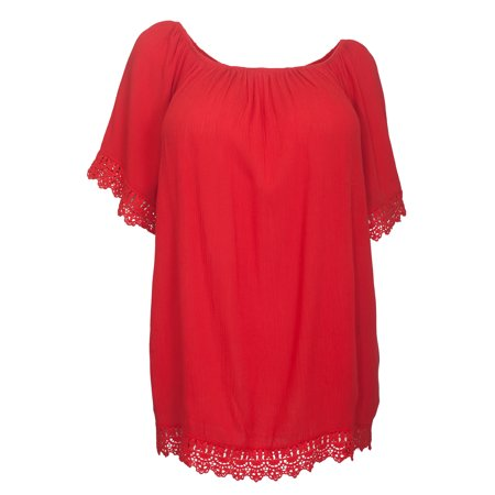 eVogues Plus Size Crochet Trim Scoop Neck Top Red (Red Tops Plus Size)