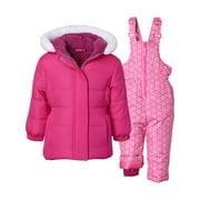 Pink Platinum Baby Toddler Girl Faux Fur Winter Jacket Coat & Snow Pants Bib, 2pc Snowsuit Set