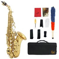LADE Brass Golden Carve Pattern Bb Bend Althorn Soprano Saxophone Sax Pearl White Shell Buttons Wind Instrument with Case Gloves Cleaning Cloth Belt Brush