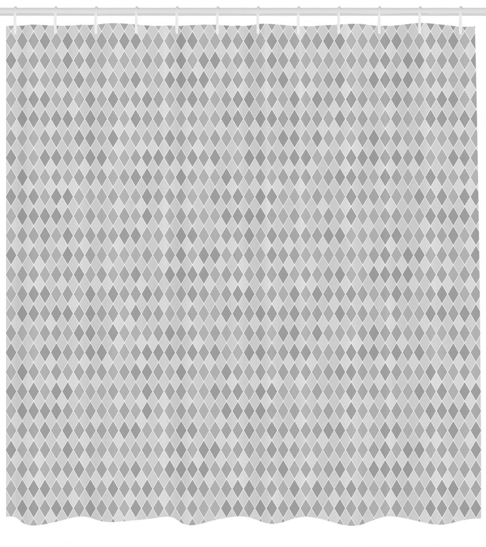 Geometric Shower Curtain Mosaic Inspired Diamond Grid Striped Little Numerous Rhombus Lozenge Motifs Fabric Bathroom Set With Hooks Grey And White By Ambesonne Walmart Com Walmart Com