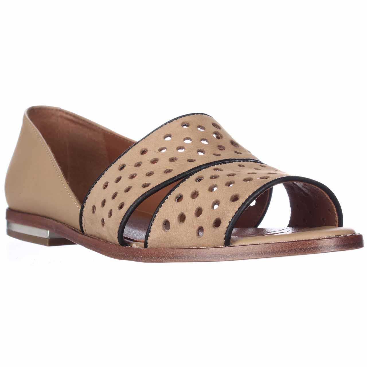 Womens Rebecca Minkoff Sadie Peep Toe Perforated Flats - Tan