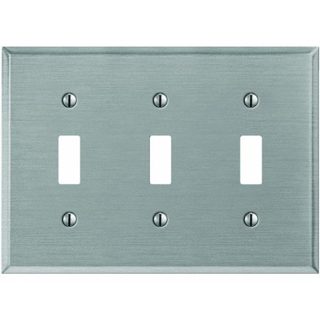 brushed nickel steel switch wall plate. Black Bedroom Furniture Sets. Home Design Ideas