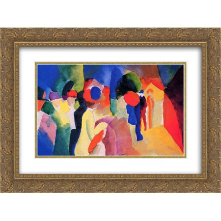 August Macke 2x Matted 24x20 Gold Ornate Framed Art Print 'Woman with a Yellow (Yellow Jacket Wheels)