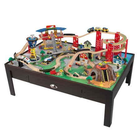 KidKraft Airport Express Train Set  Table Espresso With - Train set table