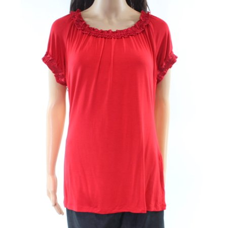 Ruched Scoop Neck Top - INC Womens Red Ruched Short Sleeve Scoop Neck Top  Size: XL