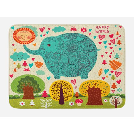 Elephant Bath Mat, Illustration with Elephant Happy World Trees leaves Hearts Love Children Artwork, Non-Slip Plush Mat Bathroom Kitchen Laundry Room Decor, 29.5 X 17.5 Inches, Multicolor, Ambesonne