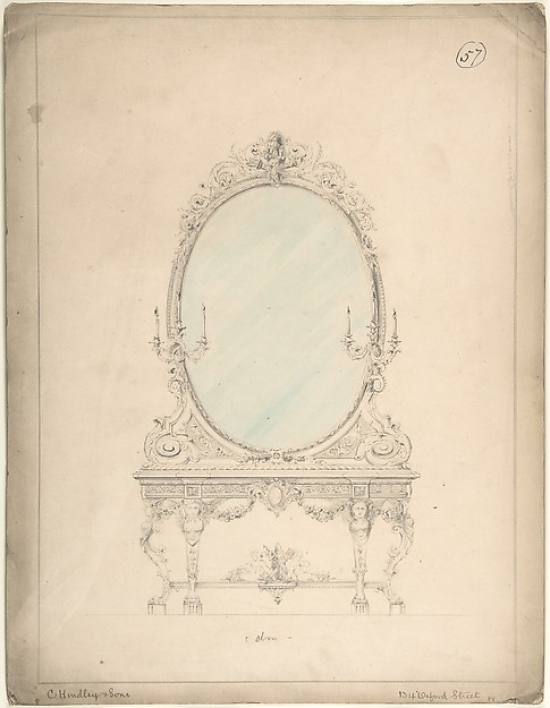 Design for an Oval Mirror over a Side Table Poster Print by Charles Hindley and Sons (British London 1841�1917 London)... by Public Domain Images