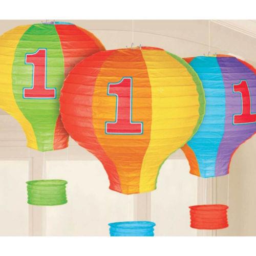 1st Birthday Hot Air Balloon Paper Lanterns (3ct)