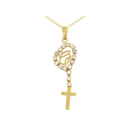 18k Gold Plated Clear Crystal Virgin Mary Cross Pendant Necklace for Kids 16