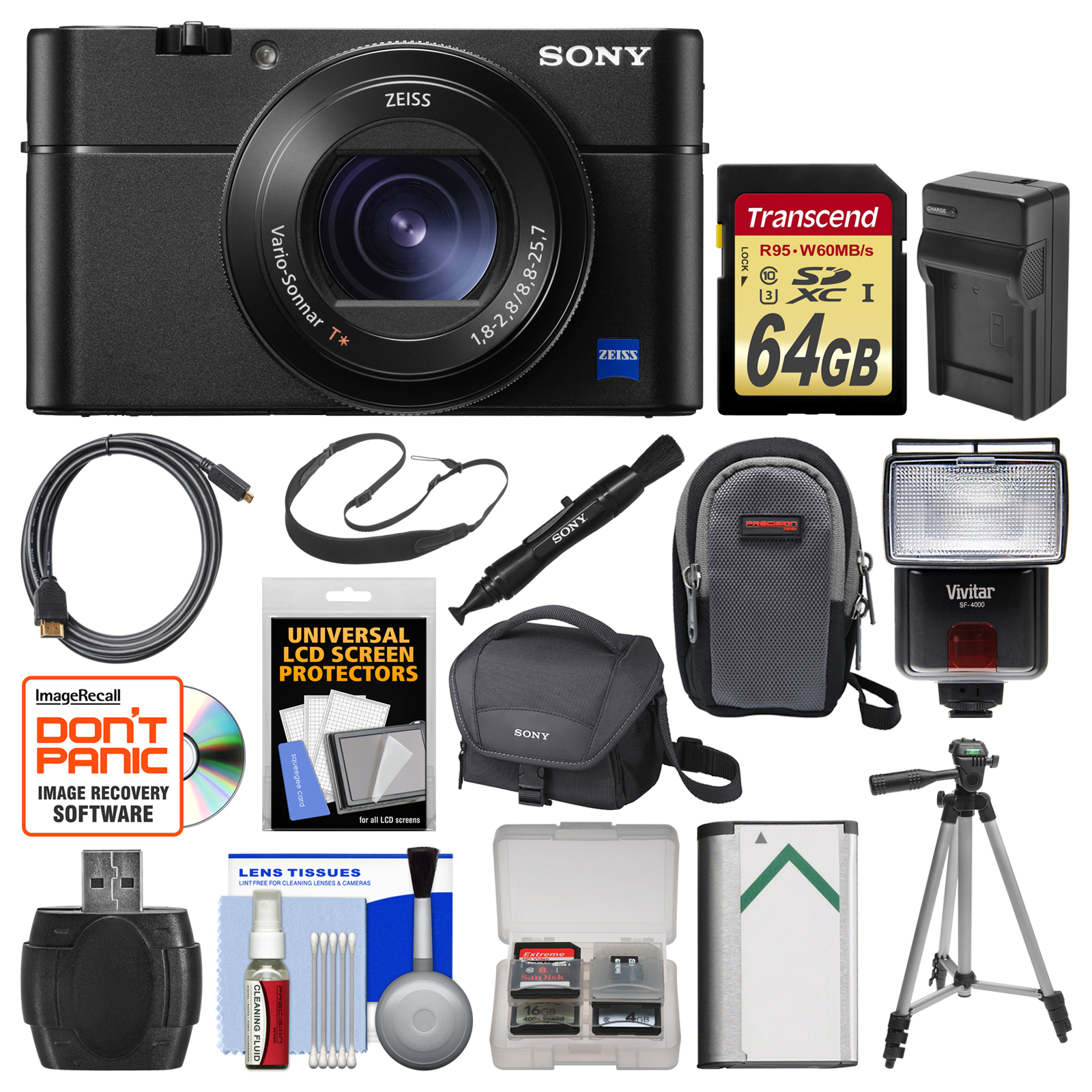 Sony Cyber-Shot DSC-RX100 V 4K Wi-Fi Digital Camera with 64GB Card + Case + Flash + Battery & Charger + Tripod... by Sony
