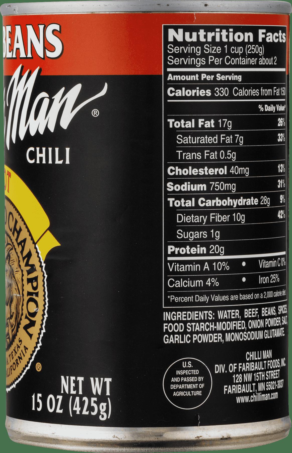 Chilli Man Chilli With Beans Hot 15 Oz Can Walmart Com Walmart Com