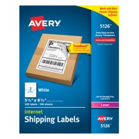 "Avery TrueBlock Shipping Labels, 5-1/2"" x 8-1/2"", 200 Labels (5126)"