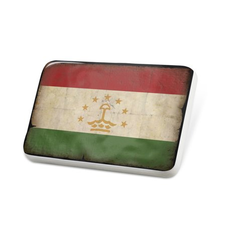 Porcelein Pin Tajikistan Flag with a vintage look Lapel Badge – NEONBLOND