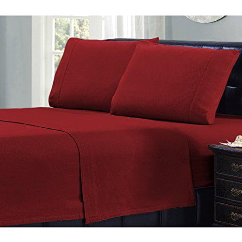 Mellanni 100% Cotton 4 Piece Flannel Sheets Set - Deep Po...