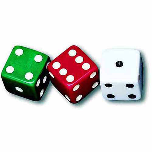 School Smart Dotted Dice, Assorted Colors, Set of 36