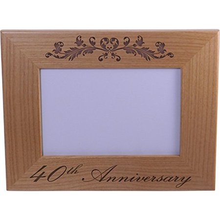 40th Anniversary - 4x6 Inch Wood Picture Frame - Great Anniversary gift for friends, parents and family