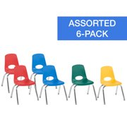 12in Stack Chair Chrome Legs Swivel Glide 6-Piece - Assorted