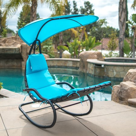 Belleze Hanging Rocking Sunshade Canopy Chair Chaise