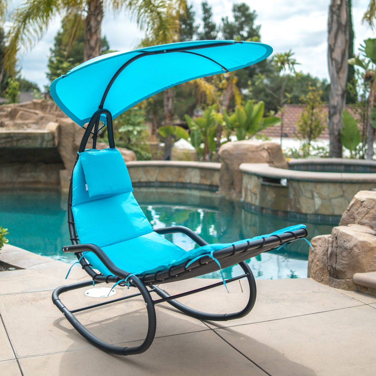 BELLEZE Hanging Rocking Sunshade Canopy Chair Chaise Umbrella Lounge Arc Patio Padded Cushions, Beige
