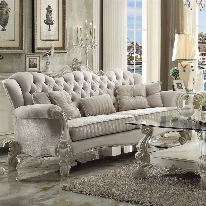 ACME Versailles Sofa with 5 Pillows in Ivory Velvet and Bone White
