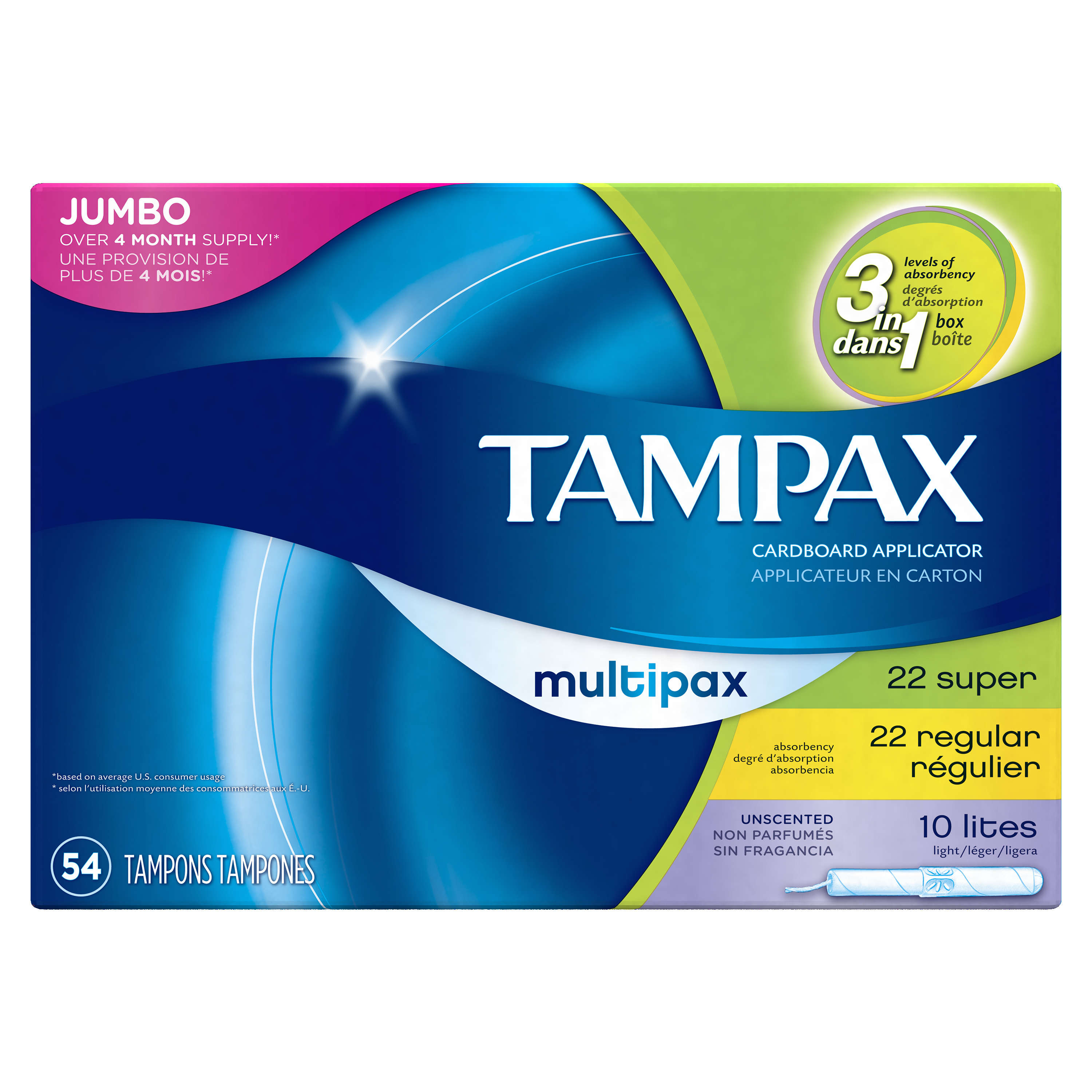Tampax Cardboard Tampons, Multipack (Light/Regular/Super), Unscented, 54 Count