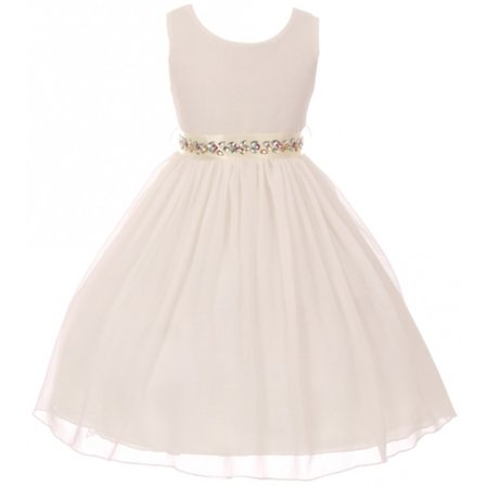 Flower Girls Dresses (Little Girls Sleeveless Chiffon Rhinestone Belt Holiday Party Flower Girl Dress Off White 4)