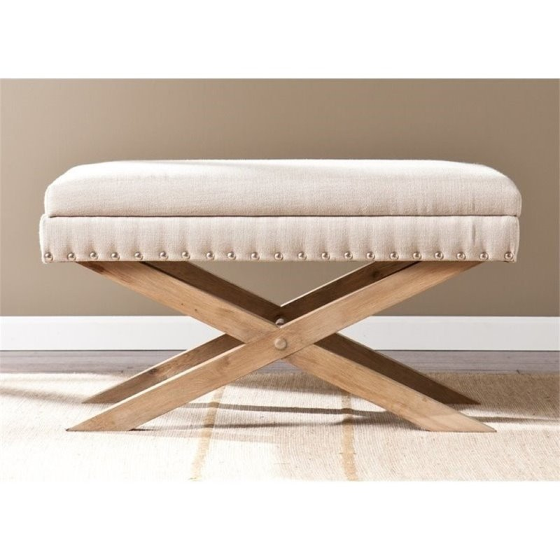 Pemberly Row Corsica Storage Vanity Bench in Cream by Pemberly Row