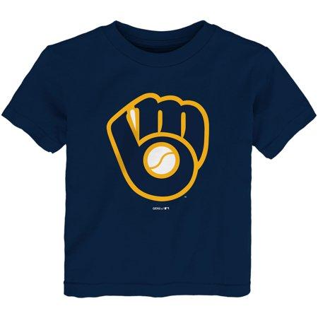 Milwaukee Brewers Team Logo Ball (Milwaukee Brewers Toddler Team Primary Logo T-Shirt - Navy)