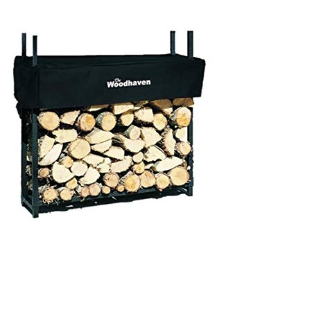 Firewood Log Rack w Cover by The Woodhaven Unique Design Strong Stainless Steel ()