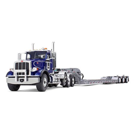Peterbilt 367 with Tri Axle Lowboy Trailer Blue and Silver 1/34 Diecast  Model by First Gear