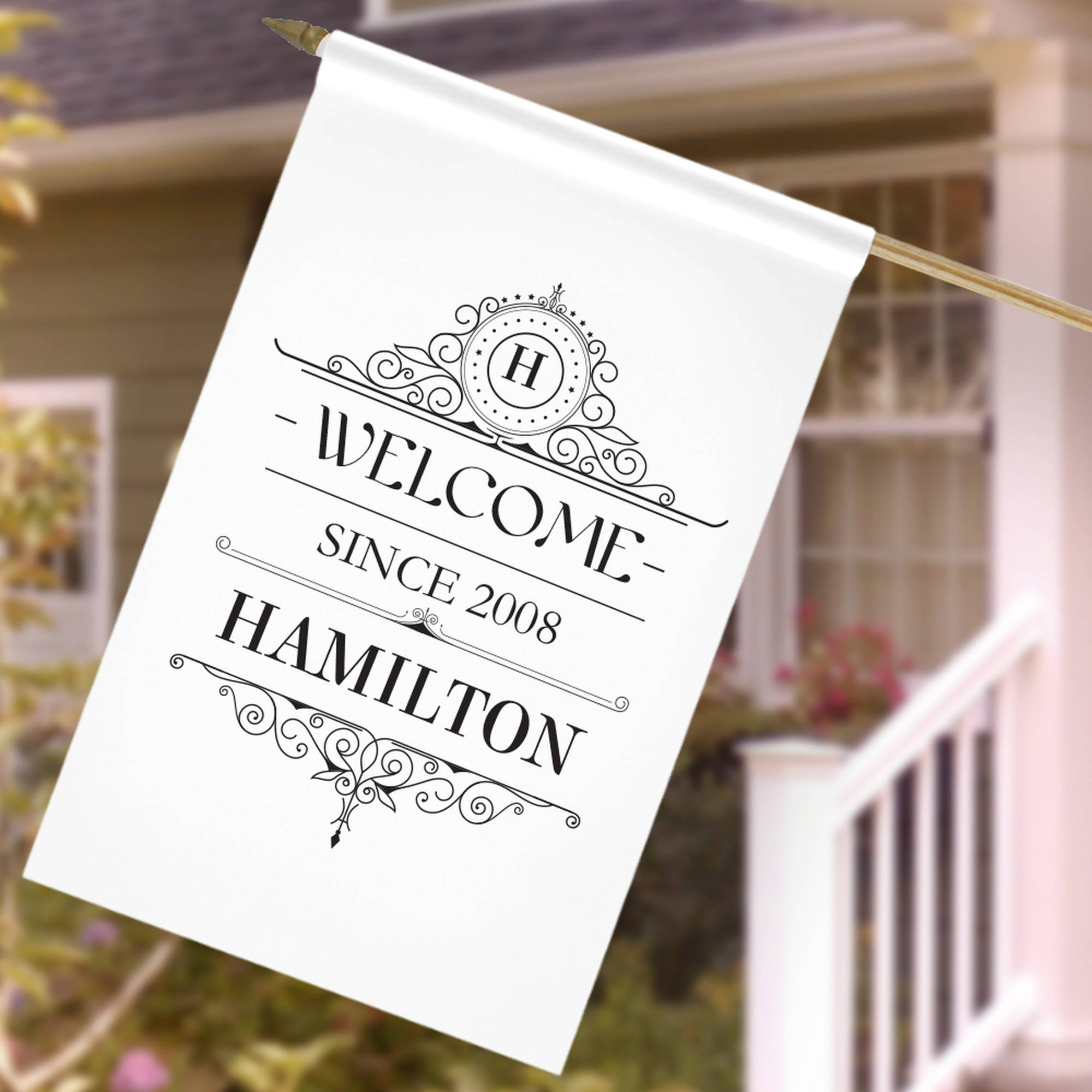 "Personalized Welcome Since House Flag, 27"" x 18"""