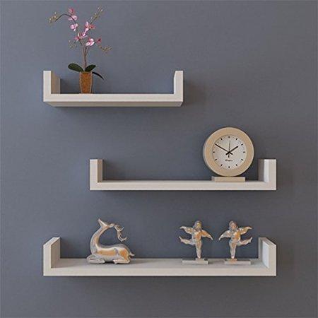 White Wall Storage - Set of 3 Floating Display Shelves Ledge Bookshelf Wall Mount Storage Home Décor White