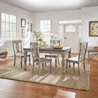 Weston Home Two Tone 5-Piece Dining Set, Coffee and Antique Grey