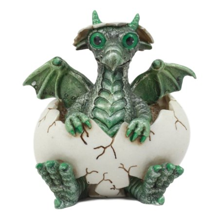 Ebros Small Green Whimsical Dragon Baby Hatchling In Egg Statue Fantasy Prehistoric Dragon Collectible Figurine