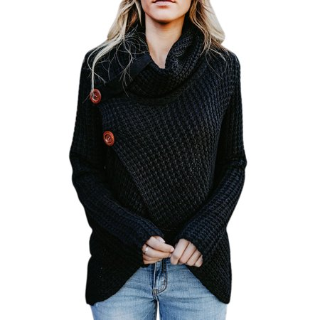 Women's Chunky Turtle Cowl Neck Asymmetric Hem Wrap Sweater Coat with Button Details, Black