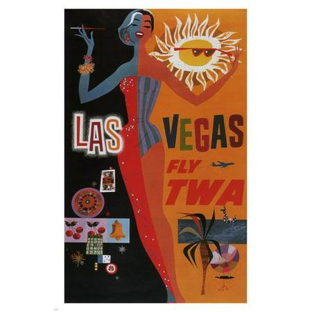 Las Vegas Fly Twa Vintage Travel Poster United States 24X36 Show Girl - Halloween Shops Las Vegas