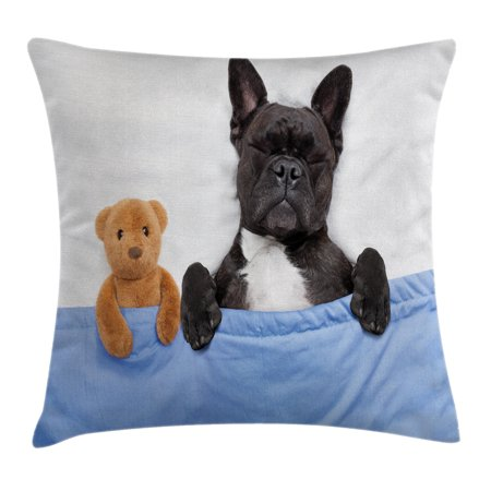 Animal Decor Throw Pillow Cushion Cover, French Bulldog Sleeping with Teddy Bear in Cozy Bed Best Friends Fun Dreams Image, Decorative Square Accent Pillow Case, 18 X 18 Inches, Multi, by