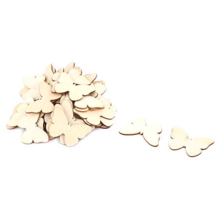 Wooden Butterfly Design DIY Craft Party Wedding Ornaments Silces Beige 50pcs](Wooden Butterfly)