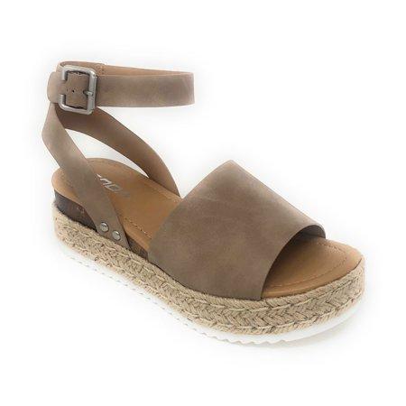 Soda Women's Topic Natural Espadrille Flatform Sandals
