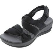 Clarks Women's Arla Mae Black Ankle-High Fabric Wedged Sandal - 5M