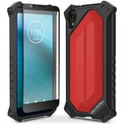 Motorola Moto E6 Case, Evocel [Glass Screen Protector] [Full Body] [Easy Push Buttons] [Smooth Matte Finish] EvoGuard Series Phone Case for Motorola Moto E6, Red